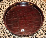 Round leather tray