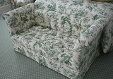 Tufted Green & white bench