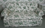 Green & white love seat