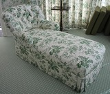 Green & white chaise lounge
