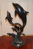 San Pacific International Brass Dolphin Sculpture