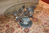 San Pacific International Brass Sealife Sculpture Coffee Table