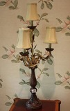 Pair of ornate 3 light lamps