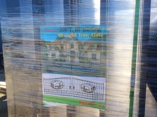 20' BI-PARTING WROUGHT IRON ENTRY GATE - DEER