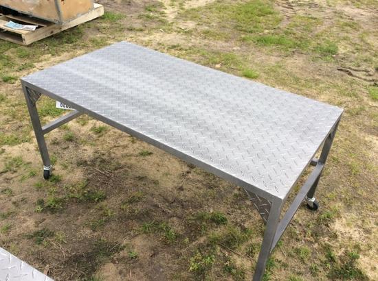 "(206)24"" X 45"" ALUMINUM TABLE"