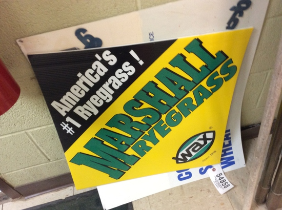 METAL SIGN & MARSHALL RYEGRASS PLASTIC SIGN