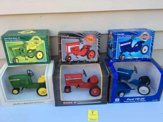 Six toy pedal tractors - JD 4020, JD 4010, IH 806, IH 1026, Ford TW20 w/trailer, Ford 8000