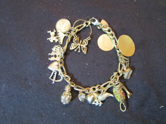 14K Gold Bracelet with Charms