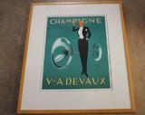 Champagne Veuve. A. Devaux Framed PictureNO RESERVE