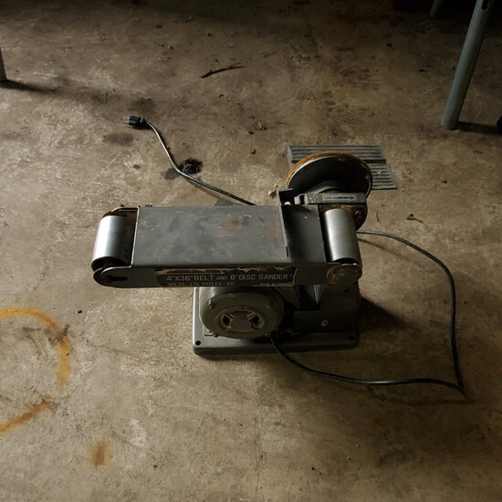 """Central Machinery 4""""x36"""" Belt and 6"""" Disc Sander – VOLTS: 115 Cycles:60NO RESERVE"""