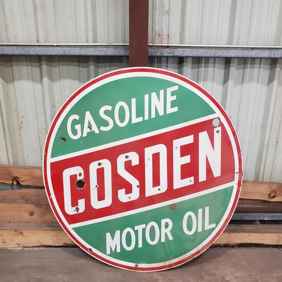 Cosden Gasoline Metal Sign, AACA Logo Sign and Bango Steering Wheel.NO RESERVE