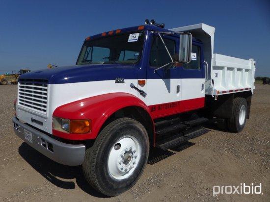 2000 INTERNATIONAL 4700 CREW CAB DUMP TRUCK;