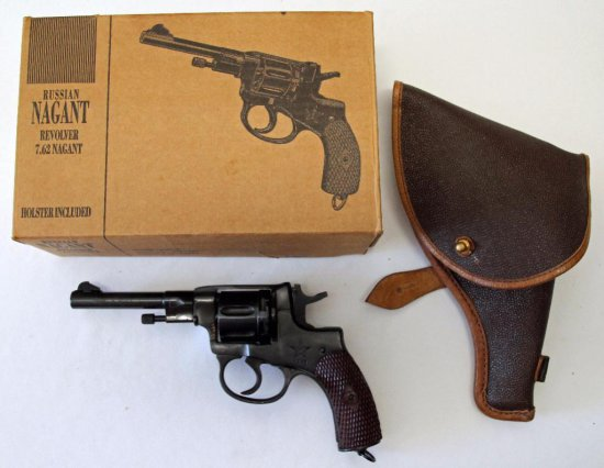Russian Nagant 7 62 Nagant Revolver w/Holster and Cleaning