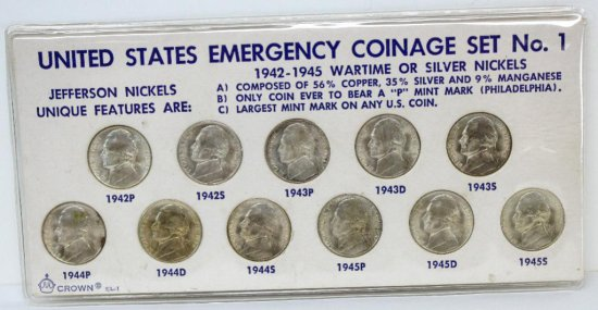 United States Emergency Coinage Set 1942-1945 Wartime Silver Nickel Set