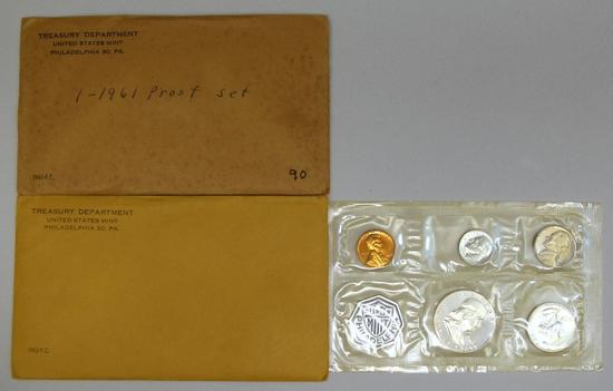 U.S. Mint 1961 and 1962 Proof Sets, 1961 is still sealed