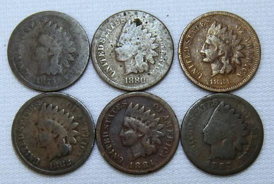 1879,1880,1881,1882,1884,1885 Indian Head Cents