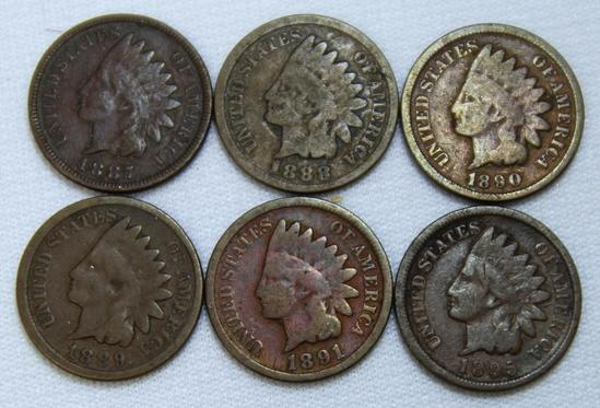 1887,1888,1889,1890,1891,1895 Indian Head Cents