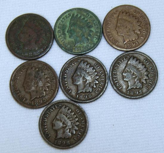 1886,1888,1891,1895,1896,1897,1898 Indian Head Cents