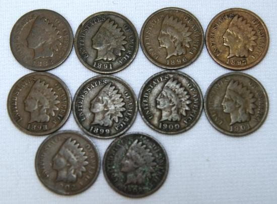 1888,1891,1896,1897,1898,1899,1900,1901,1902,1903 Indian Head Cents