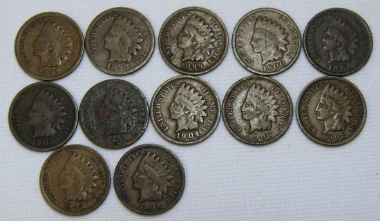 1897,1898,1899,1900,1901,1902,1903,1904,1906,1907,1908,1909 Indian Head Cents