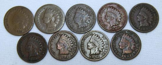 1880,1884,1887,1888,1889,1890,1891,1892,1893 Indian Head Cents