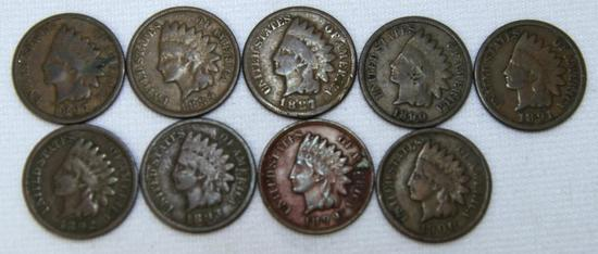 1887,1889,1890,1891,1892,1893,1897,1899,1900 Indian Head Cents