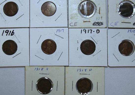 1909,1909VDB,(2)1910,1916,1917,1917D,1918,1918D,1918S Wheat Cents