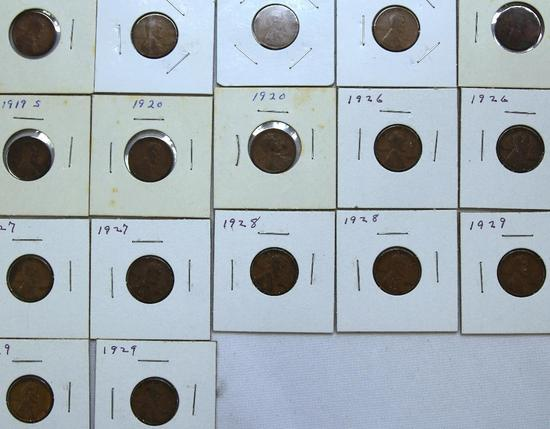 1918,(3)1919,(2)1919S,(2)1920,(2)1926(2)1927,(2)1928,(3)1929 Wheat Cents