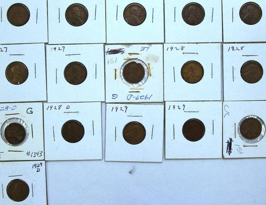 1925,(2)1926,(2)1926D,(2)1927,1927D,(2)1928,(2)1928D,(2)1929,(2)1929D Wheat Cents