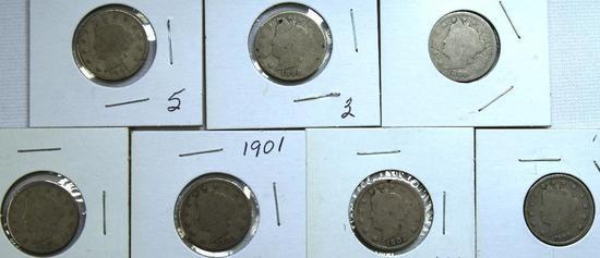 1897,1898,1899,1900,1901,1902,1903 Liberty Head Nickels