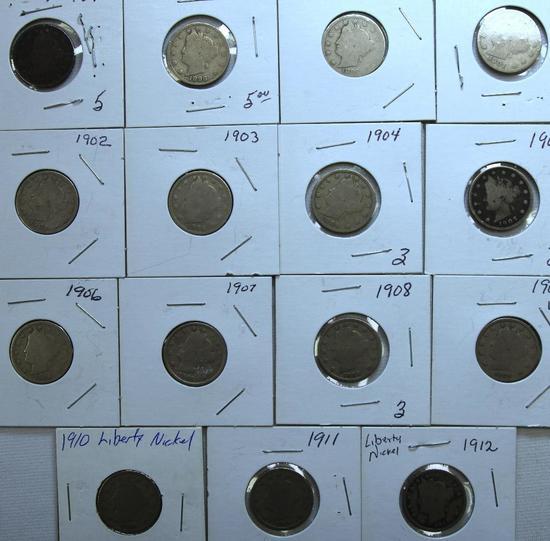 1897,1898,1899,1901,1902,1903,1904,1905,1906,1907,1908,1909,1910,1911,1912 Liberty Head Nickels