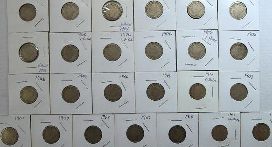 (25) Liberty Head Nickels 1907-1912