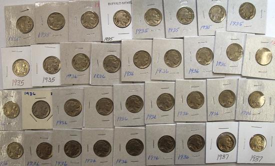 (10)1935,(22)1936,(2)1937 Buffalo Nickels