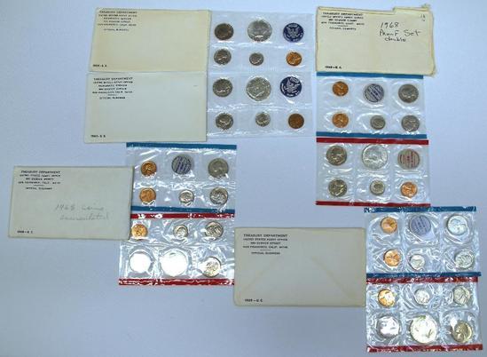 (2) U.S. Mint 1965 Special Mint Sets, (2) 1968 P&D Uncirculated Sets, 1969 P&D Uncirculated Set