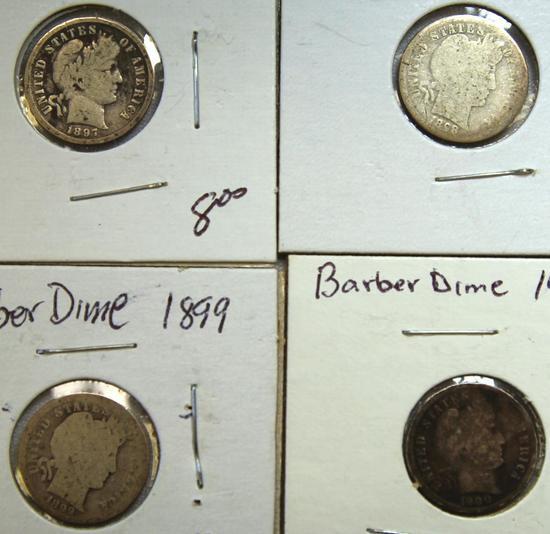 1897,1898,1899,1900 Barber Dimes