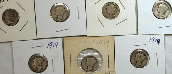 (2)1917,1917S,(2)1918,(2)1919 Mercury Dimes