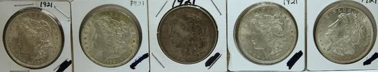 (5) 1921 Morgan Dollars