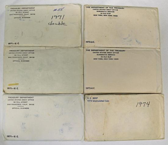 U.S. Mint (3) 1971 Uncirculated Sets, (2) 1972 Uncirculated Sets, 1974 Uncirculated Set-(Single Set