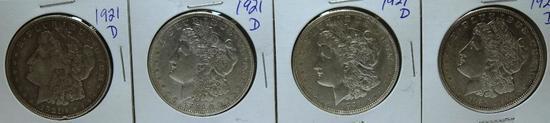 (5) 1921D Morgan Dollars