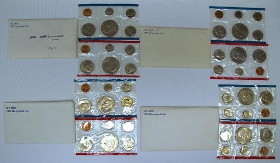 U.S. Mint 1975, 1976, 1977, 1978 Uncirculated Sets
