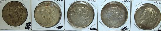 (5) 1922D Peace Dollars