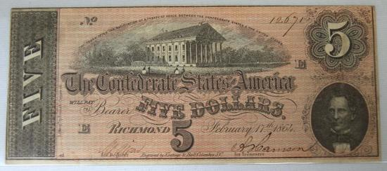 Confederate States of America Richmond 1864 $5 Note
