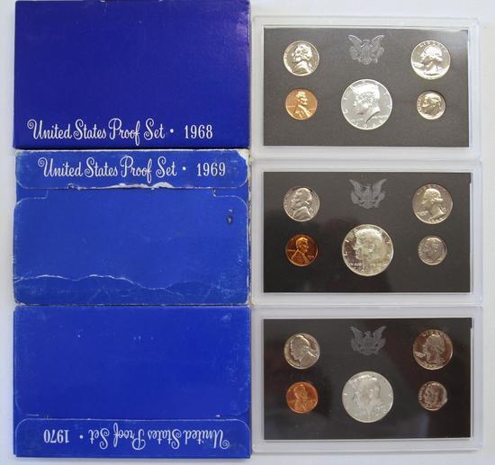 U.S. Mint 1968, 1969, 1970 Proof Sets