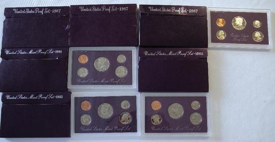 U.S. Mint (3) 1987, 1991, 1992, 1993 Proof Sets