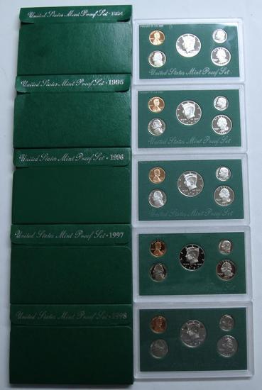 U.S. Mint 1994, 1995, 1996, 1997, 1998 Proof Sets
