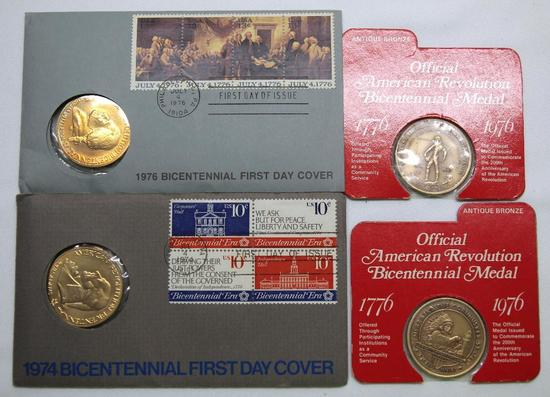 1974, 1976 Bicentennial First Day Covers with Medals and (2) American Revolution Bicentennial Medals