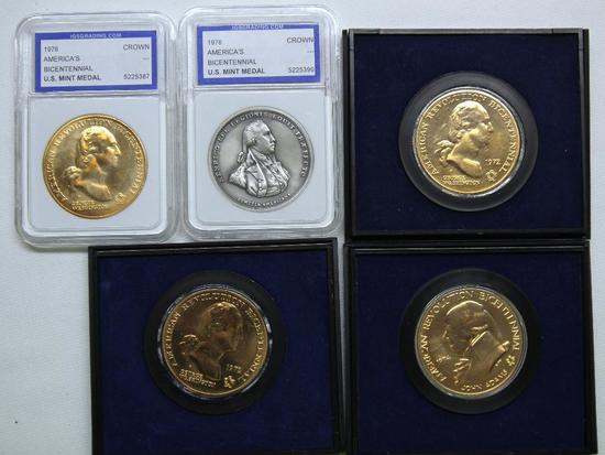 U.S. Mint (2) 1972, 1974, (2) Different 1976 Bicentennial Medals