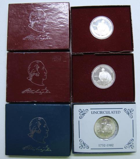 U.S. Mint (3) 90% Silver 1982 George Washington Commemorative Half Dollars - (2) Proofs, (1)