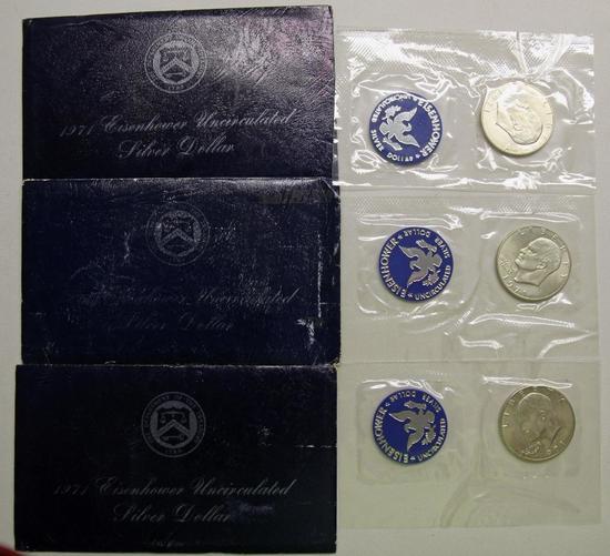 U.S. Mint (3) Blue Envelope 1971 Eisenhower Uncirculated Silver Dollars