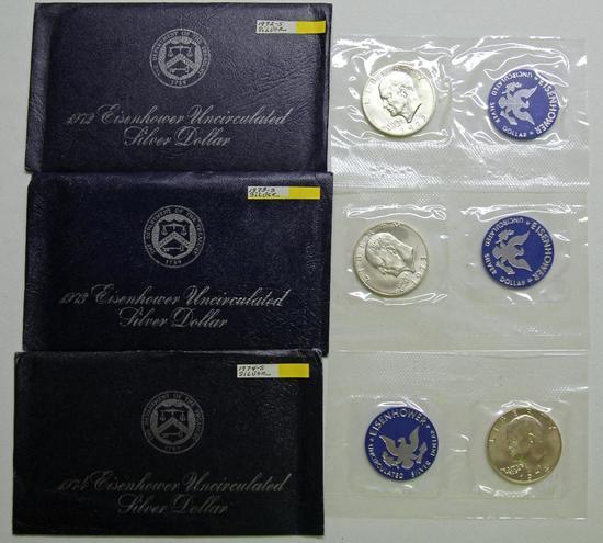 U.S. Mint 1972, 1973, 1974 Blue Envelope Eisenhower Uncirculated Silver Dollars